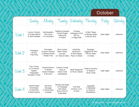 Monthly Menu Planning Template