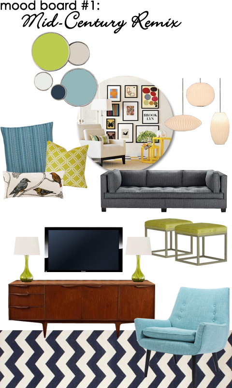 Family Room Mood Board: Mid-Century Remix