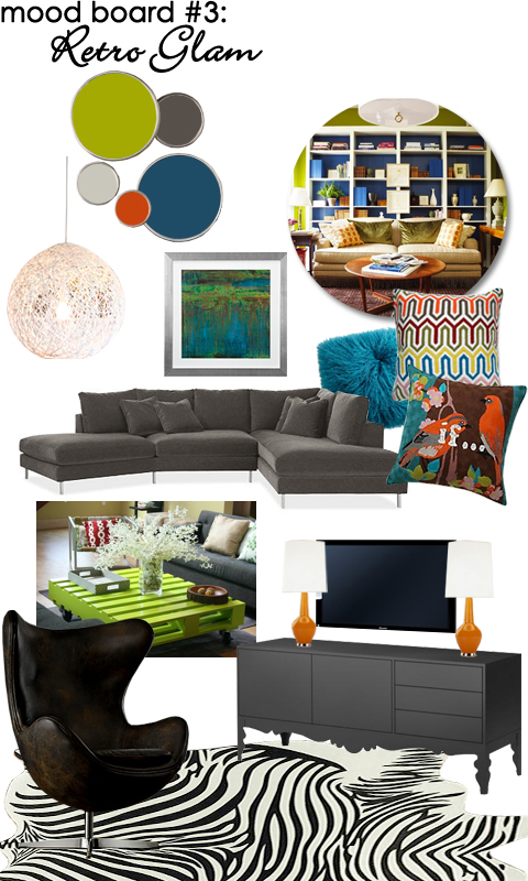 Family Room Mood Board: Retro Glam