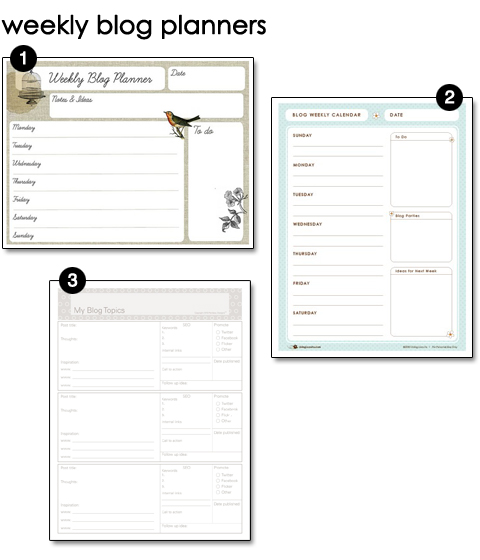 Free Printable Weekly Blog Planners