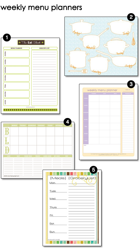 Free Printable Weekly Menu Planners