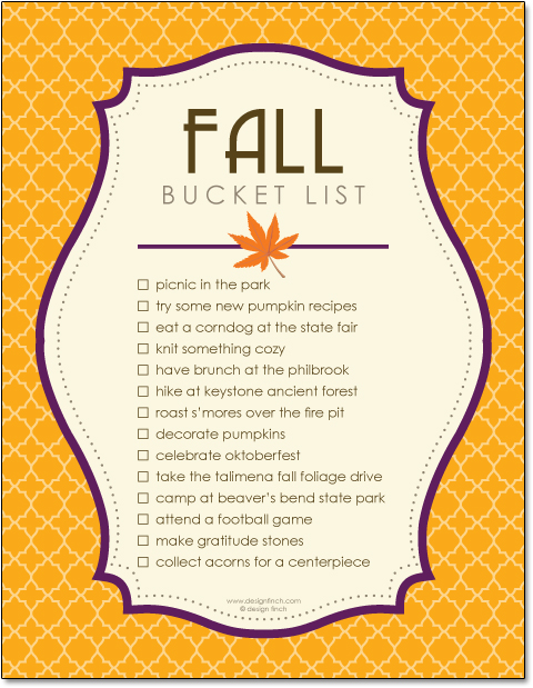 Free Fall Bucket List Printable Template