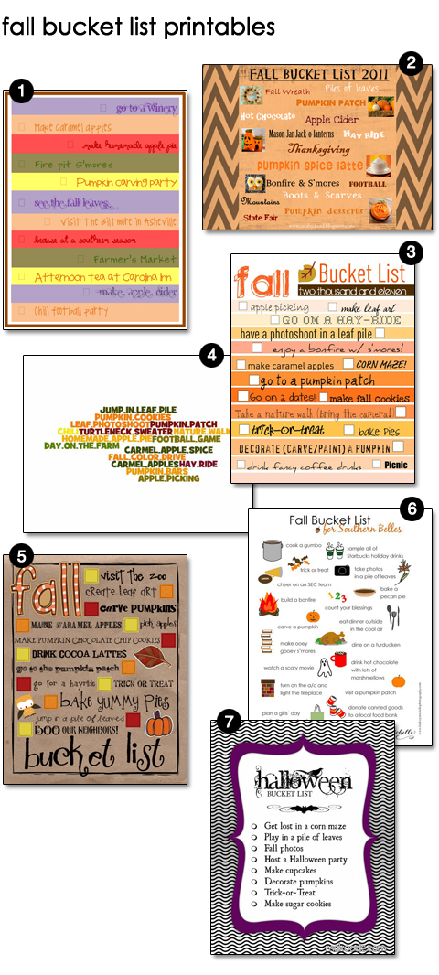 Free Fall Bucket List Printables