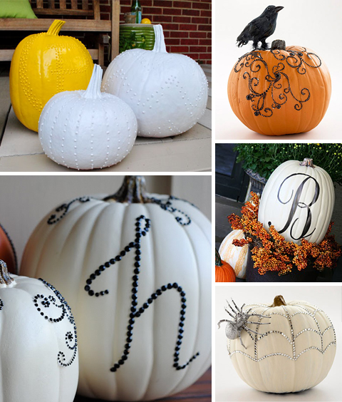 No Carve Pumpkin Ideas: Puff Paint & Rhinestones