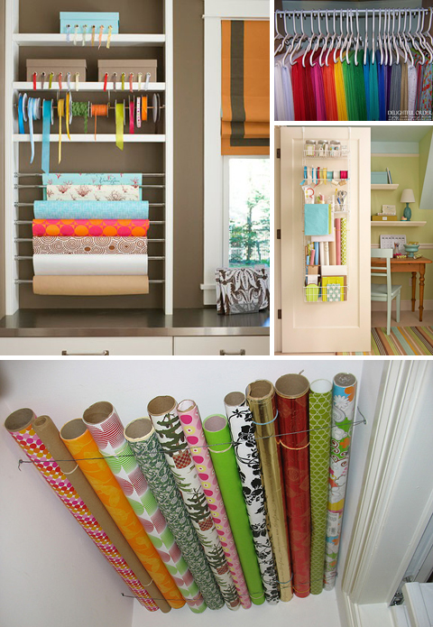 Gift Wrap Organization Ideas
