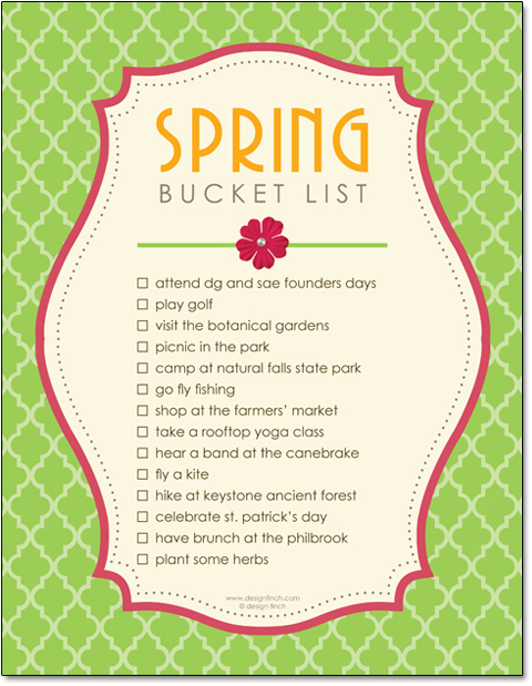 Free Spring Bucket List Printable Template