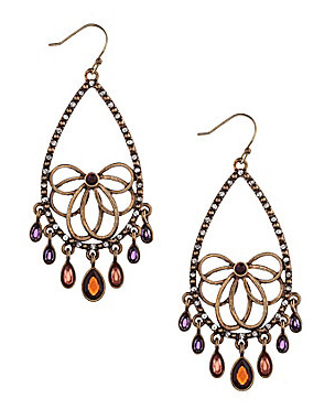 Lucky Brand Red Oblong Chandelier Earrings