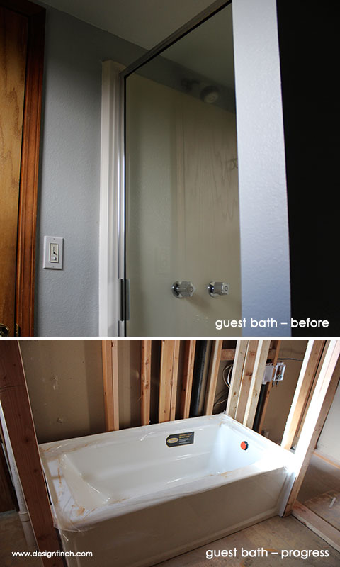 Construction Before & Progress – Guest Bath